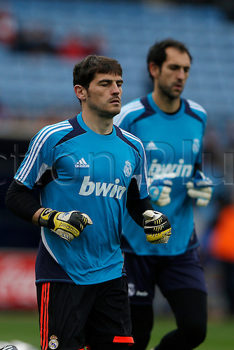 27.04.2013. Madrid, Spain.  La Liga football  Atletico de Madrid vs Real Madrid CF (1-2) at Vicente Calderon stadium. The picture shows Iker Casillas (spanish goalkeeper of Real Madrid) and Diego Lopez (spanish goalkeeper of Real Madrid)
