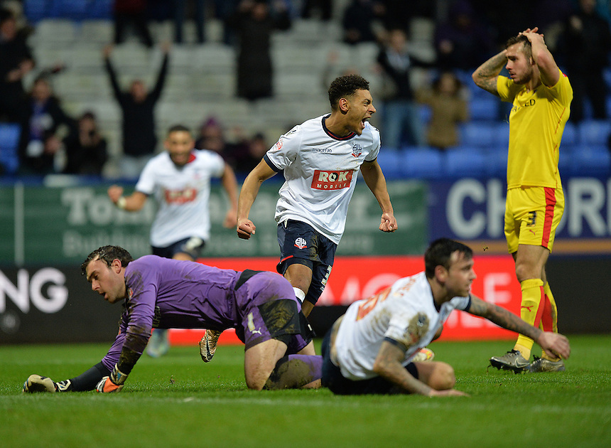 Bolton Wanderers' Kaiyne Woolery turns to celebrate scoring his team's winning goal<br /> <br /> Photographer Dave Howarth/CameraSport<br /> <br /> Football - The Football League Sky Bet Championship - Bolton Wanderers v Rotherham United - Saturday 6th February 2016 - Macron Stadium - Bolton <br /> <br /> &copy; CameraSport - 43 Linden Ave. Countesthorpe. Leicester. England. LE8 5PG - Tel: +44 (0) 116 277 4147 - admin@camerasport.com - www.camerasport.com