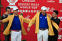 Gary Woodland and Matt Kuchar of USA presented with their World Cup jackets during the final round of the Omega Mission Hills World Cup played at The Blackstone Course, Mission Hills Golf Club on November 27th in Haikou, Hainan Island, China.( Picture Credit / Phil Inglis )