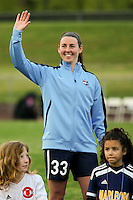 Piscataway, NJ, May 7, 2016. Erin Simon (33) of Sky Blue FC during player introductions prior to their game with the Western New York Flash.  The Western New York Flash defeated Sky Blue FC, 2-1, in a National Women's Soccer League (NWSL) match at Yurcak Field.