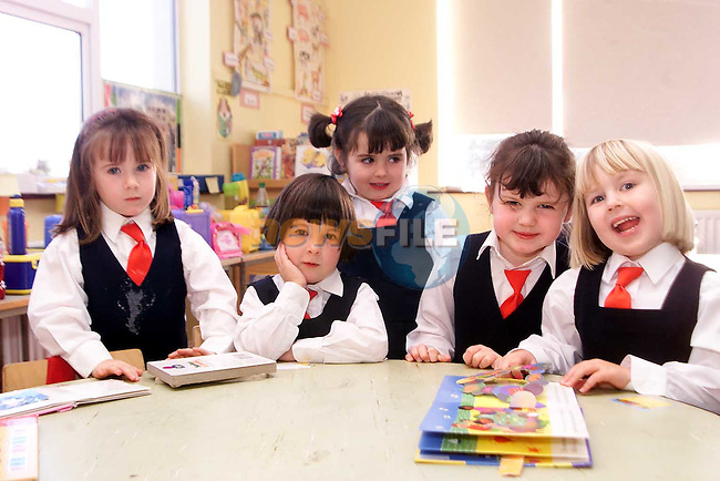 Aoife Brady, Aoife Phillips, Antoinia Ward, Hannah Lynch and Chloe O'Brien in Junior Infants, Donacarney National School..Picture: Paul Mohan/Newsfile
