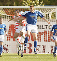 04/09/2004   Copyright Pic : James Stewart.File Name : jspa02_hamilton_v_stjohnstone.DEREK FERGUSON AND RYAN MCCANN CHALLENGE FOR THE BALL....Payments to :.James Stewart Photo Agency 19 Carronlea Drive, Falkirk. FK2 8DN      Vat Reg No. 607 6932 25.Office     : +44 (0)1324 570906     .Mobile  : +44 (0)7721 416997.Fax         :  +44 (0)1324 570906.E-mail  :  jim@jspa.co.uk.If you require further information then contact Jim Stewart on any of the numbers above.........