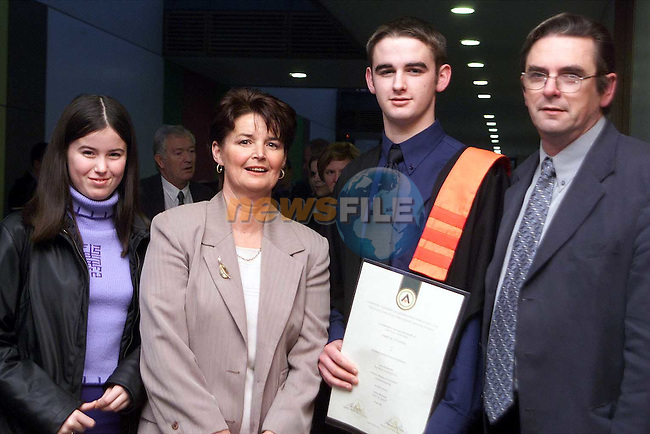 Barry McCullough from Dromin who received a diploma in Mechanical Engineering pictured with his sister Grainne and parents Monica and Frank..Picture: Paul Mohan/Newsfile