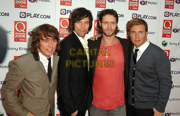TAKE THAT - HOWARD DONALD, MARK OWEN, GARY BARLOW, JASON ORANGE.The Q Awards 2006, Grosvenor House Hotel, London, UK..October 30th, 2006.Ref: BEL.half length grey gray black brown jacket.www.capitalpictures.com.sales@capitalpictures.com.©Tom Belcher/Capital Pictures.