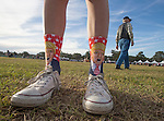 TALLAHASSEE, FL - OCTOBER 25:   A supporter wears a pair of Trump socks to a Republican presidential candidate Donald Trump rally at the Antique Car Museum property on October 25, 2016 in Tallahassee, Florida.  With just over two weeks to go until the election, early voting has started in Florida. (Photo by Mark Wallheiser/Getty Images)