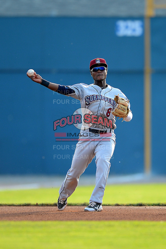 Mahoning Valley Scrappers shortstop Juan Herrera #8 during a game against the Batavia Muckdogs on June 22, 2013 at Dwyer Stadium in Batavia, New York.  Batavia defeated Mahoning Valley 2-1 in ten innings.  (Mike Janes/Four Seam Images)