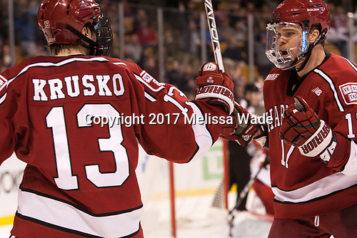 Nathan Krusko (Harvard - 13), Sean Malone (Harvard - 17) - The Harvard University Crimson defeated the Boston University Terriers 6-3 (EN) to win the 2017 Beanpot on Monday, February 13, 2017, at TD Garden in Boston, Massachusetts.