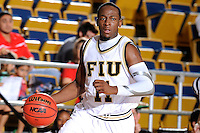 31 December 2009:   FIU's Marvin Roberts (11) brings the ball up-court as the South Alabama Jaguars defeated the FIU Golden Panthers, 71-59, at the U.S. Century Bank Arena in Miami, Florida.