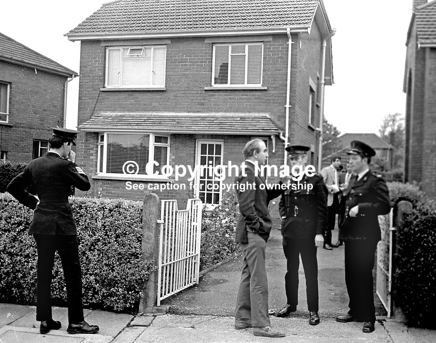 Police outside the Belfast, N Ireland home of  murdered magistrate Martin McBirney. Mr McBirney was also a prominent member of the N Ireland Labour party. 197409180496.<br />