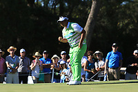 Kiradech Aphibarnrat (THA) makes his putt on the 5th to win the Matchplay Final of the ISPS Handa World Super 6 Perth at Lake Karrinyup Country Club on the Sunday 11th February 2018.<br /> Picture:  Thos Caffrey / www.golffile.ie<br /> <br /> All photo usage must carry mandatory copyright credit (&copy; Golffile | Thos Caffrey)