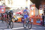 Arnaud Demare (FRA) FDJ outsprints Ben Swift (GBR) Team Sky to win the 2016 Milan-San Remo race, running 293km from Milan to San Remo, on the Via Roma, San Remo, Italy. 19th March 2016.<br /> Picture: ANSA/Claudio Peri | Newsfile<br /> <br /> <br /> All photos usage must carry mandatory copyright credit (© Newsfile | Claudio Peri)