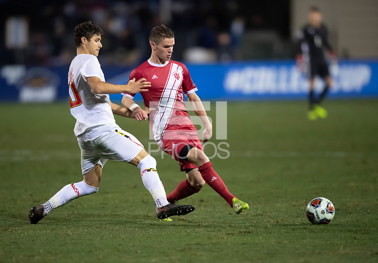 Santa Barbara, CA - Friday, December 7, 2018:  Maryland men's soccer defeated Indiana 2-0 in a semi-final match in the 2018 College Cup.  Austin Panchot.