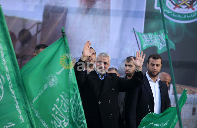 Hamas top leader in the Gaza Strip Ismail Haniya attends a rally marking the 27th anniversary of Hamas' founding, in Gaza City December 14, 2014. Photo by Ashraf Amra