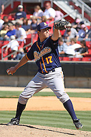 Justin Garcia #17 of the Montgomery Biscuits pitching during a game against the Carolina Mudcats on April 18, 2010 in Zebulon, NC.