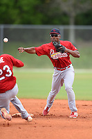 St. Louis Cardinals infielder Malik Collymore (26) during a minor league spring training intrasquad game on March 28, 2014 at the Roger Dean Stadium Complex in Jupiter, Florida.  (Mike Janes/Four Seam Images)
