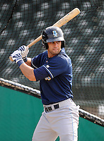 Outfielder Nick Francis (7) of the Wilmington Blue Rocks, Carolina League affiliate of the Kansas City Royals, prior to a game against the Lynchburg Hillcats on June 15, 2011, at City Stadium in Lynchburg, Va. (Tom Priddy/Four Seam Images)