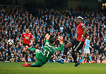 Paul Pogba of Manchester United score Utd's first goal during the premier league match at the Etihad Stadium, Manchester. Picture date 7th April 2018. Picture credit should read: Simon Bellis/Sportimage