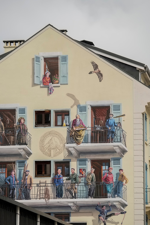 A second look is required to determine if this painted facade is real or not- Chamonix, French Alps.