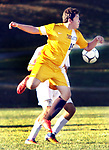 TERRYVILLE CT. 17 October 2017-101717SV04-#16 Tyler Miller of Thomaston tries to prevent a ball from heading toward his goal while playing Terryville High in Terryville Wednesday.<br /> Steven Valenti Republican-American