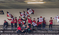 Young Jersey supporters cheer on there team during the Greene King IPA Championship match between London Scottish Football Club and Jersey at Richmond Athletic Ground, Richmond, United Kingdom on 7 November 2015. Photo by Andy Rowland.