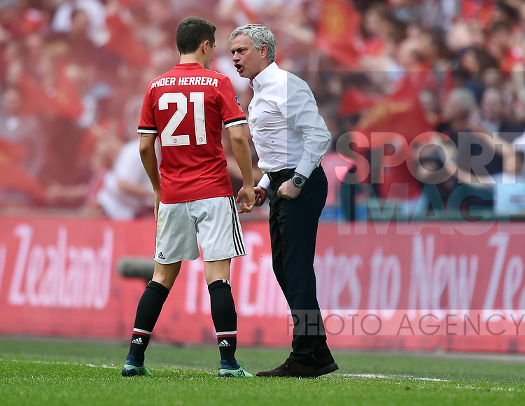 A Frustrated Manchester United Manager Jose Mourinho talks to Ander Herrera of Manchester United during the FA cup semi-final match at Wembley Stadium, London. Picture date 21st April, 2018. Picture credit should read: Robin Parker/Sportimage