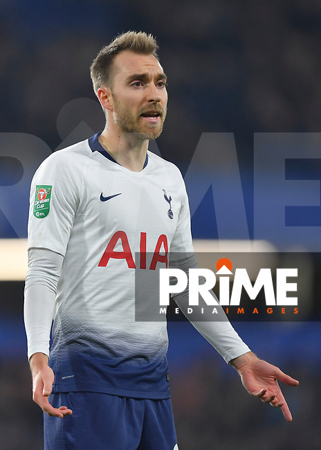 Christian Eriksen of Tottenham Hotspur during the Carabao Cup Semi-Final 2nd leg match between Chelsea and Tottenham Hotspur at Stamford Bridge, London, England on 24 January 2019. Photo by Vince  Mignott / PRiME Media Images.