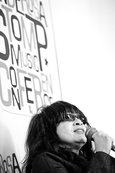 Ronnie Spector answers a question during her interview at the Ponderosa Stomp's 3rd Annual Music History Conference at the Louisiana State Museum in the Cabildo in New Orleans on September 24, 2010.  <br /> <br /> Ronnie Spector is a singer, known for her work with the Ronettes, a girl group that that had a string of hits in the early 1960s, most notably &quot;Be My Baby&quot;.  The group was managed and produced by Phil Spector, who Ronnie married and suffered through a famously oppressive marriage with as she was effectively imprisoned in their home, her career put on forced hiatus.   After finally escaping her marriage in 1974 Ronnie was not able to regain her earlier acclaim although she did have a bit of a resurgence in the mid 1980s.<br /> <br /> The Ponderosa Stomp is an annual music festival held in New Orleans since 2002 that celebrates the uncelebrated names in American musical history.  The festival spotlights musicians who have contributed to the American roots musical canon in various genres, from rockabilly to soul to rock and roll to jazz to experimental.  For two nights of the year these mostly forgotten names perform to an audience of aficionados whose memory has not faded and turn back the clock with blistering performances of the hits that did or (in the case of the regional musicians that plugged away unknown to the world at large, as well as those whose songs were recorded to acclaim by other musicians) did not make them famous.  <br /> <br /> In addition to the two nights of performances the Ponderosa Stomp Foundation (the non-profit founded by the eccentric Dr. Ira Padnos and his coterie of like minded music fanatics the Mystic Knights of the Mau Mau) also produces two days of the Music History Conference, where many of the performers, as well as other music industry names, share stories of their lives in the business.  The Conferences take place in the Louisiana State Museum at the Cabildo in Jackson Square.
