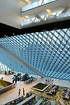 "Seattle Central Library, LMN Architects, Rem Koolhaas, new architecture, ""living room"", main floor from above, Washington State, Pacific Northwest, USA,.."