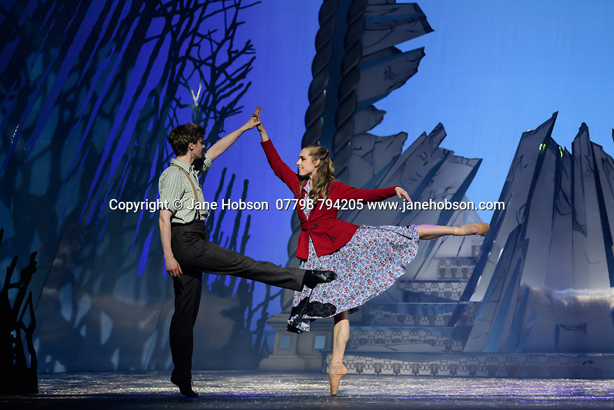 Scottish Ballet presents the world premiere of The Snow Queen, at the Festival Theatre. The work is choreographed by Christopher Hampson, to the music of Rimsky-Korsakov, with set and costume design by Lez Brotherston, and lighting design by Paul Pyant.  The cast is: Constance Devernay (Snow Queen), Bethany Kingsley-Garner (Gerda), Andrew Peasgood (Kai), Kayla-Maree Tarantolo (Lexi). The picture shows: Andrew Peasgood (Kai), Bethany Kingsley-Garner (Gerda).