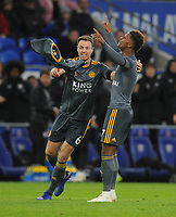 Leicester City's Demarai Gray celebrates scoring his side's first goal with team-mate Jonny Evans<br /> <br /> Photographer Kevin Barnes/CameraSport<br /> <br /> The Premier League -  Cardiff City v Leicester City - Saturday 3rd November 2018 - Cardiff City Stadium - Cardiff<br /> <br /> World Copyright © 2018 CameraSport. All rights reserved. 43 Linden Ave. Countesthorpe. Leicester. England. LE8 5PG - Tel: +44 (0) 116 277 4147 - admin@camerasport.com - www.camerasport.com