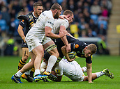1st October 2017, Ricoh Arena, Coventry, England; Aviva Premiership rugby, Wasps versus Bath Rugby;  Jack Willis goes into contact for Wasps