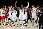 United States´s Drummond celebrates after winning FIBA Basketball World Cup Spain 2014 final match between United States and Serbia at `Palacio de los deportes´ stadium in Madrid, Spain. September 14, 2014. (ALTERPHOTOSVictor Blanco)