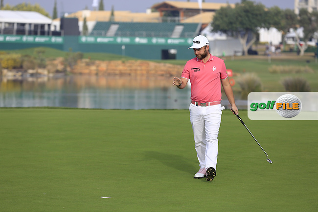 Andy Sullivan (ENG) sinks his putt on the 14th green during Thursday's Round 1 of the 2016 Portugal Masters held at the Oceanico Victoria Golf Course, Vilamoura, Algarve, Portugal. 19th October 2016.<br /> Picture: Eoin Clarke   Golffile<br /> <br /> <br /> All photos usage must carry mandatory copyright credit (&copy; Golffile   Eoin Clarke)