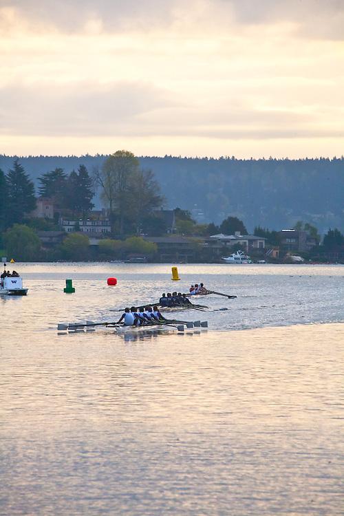 Rowing, Seattle, The Husky Open, April 4 2015, rowing regatta, Montlake Cut, University of Washington, Mens Varsity eight, College M V8, crew, Washington State, Pacific Northwest,