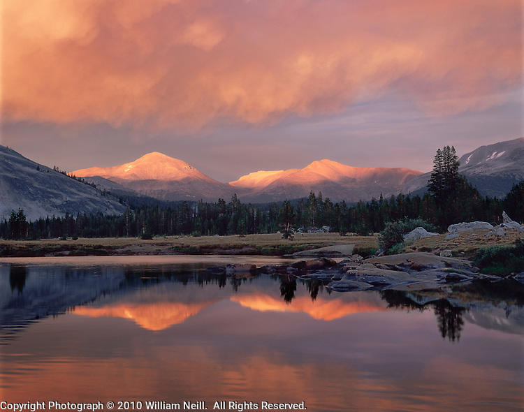 Mt. Dana and Mt. Gibbs reflected in the Tuolumne River at sunset,  Yosemite National Park, California 1996