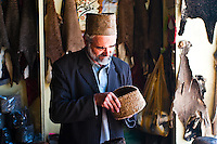 Karakul hat is made from the fur of the Qaraqul breed of sheep, often from the fur of aborted lamb foetuses. The triangular hat is part of the costume of the native people of Kabul.