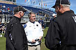 DURHAM, NC - APRIL 08: Notre Dame head coach Kevin Corrigan. The Duke University Blue Devils hosted the University of Notre Dame Fighting Irish on April 8, 2017, at Koskinen Stadium in Durham, NC in a Division I College Men's Lacrosse match. Duke won the game 11-8.