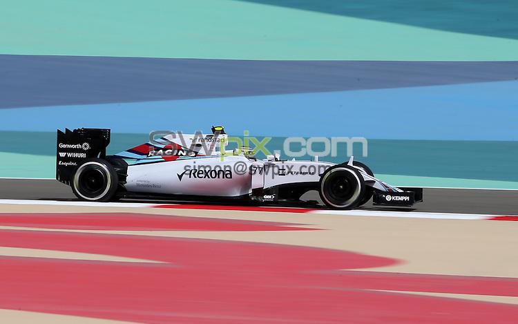 PICTURE BY MARK GREEN/SWPIX.COM - Formula 1, Bahrain International Circuit, 17-19th April 2015 <br /> The Williams of Finnish driver Valtteri Botas