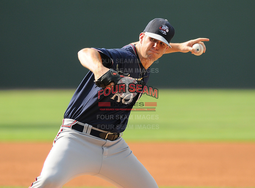 Starting pitcher Alex Wood (54) of the Rome Braves, an Atlanta Braves affiliate, in a game against the Greenville Drive on July 6, 2012, at Fluor Field at the West End in Greenville, South Carolina. Wood was a second-round pick of the Atlanta Braves in the 2012 First-Year Player Draft out of the University of Georgia. Greenville won, 4-0. (Tom Priddy/Four Seam Images)