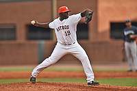 Greenville Astros pitcher Krishawn Holley #19 delivers a pitch during a game against the Pulaski Mariners at Pioneer Park July 12, 2014 in Greenville, Tennessee. The Mariners defeated the Astros 11-10. (Tony Farlow/Four Seam Images)