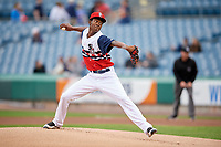 Syracuse Chiefs starting pitcher Phillips Valdez (28) delivers a pitch during a game against the Scranton/Wilkes-Barre RailRiders on June 14, 2018 at NBT Bank Stadium in Syracuse, New York.  Scranton/Wilkes-Barre defeated Syracuse 9-5.  (Mike Janes/Four Seam Images)