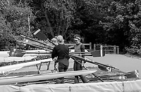 Mortlake/Chiswick. Greater London. London. 2017 Bourne Regatta At Chiswick Bridge. Course, Runs from and to Mortlake Anglian and Alpha Boathouse, dependent on the Tide Direction. Chiswick.  River Thames. <br /> <br /> General view, Putney Town athletes, carry the <br /> blade/Sculls/oars<br /> Saturday  06/05/2017<br /> <br /> [Mandatory Credit Peter SPURRIER/Intersport Images]