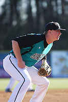 Coastal Carolina Chanticleers 3rd baseman Tripp Martin #24 during a game against the North Carolina State Wolfpack at BB&T Coastal Field on February 26, 2012 in Myrtle Beach, SC.  Coastal Carolina defeated N.C. State 3-2. (Robert Gurganus/Four Seam Images)