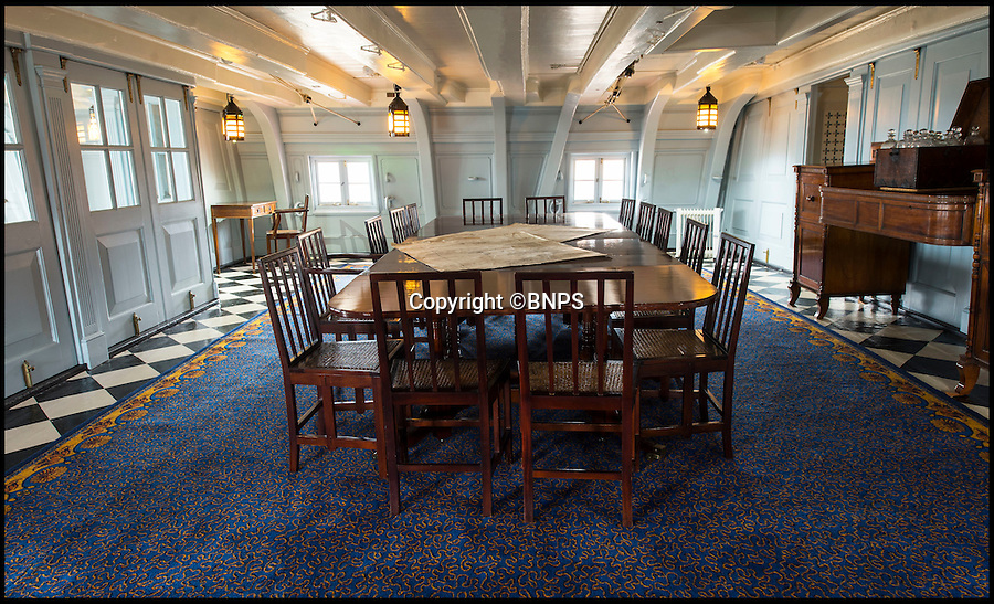 BNPS.co.uk (01202 558833)<br /> Pic: PhilYeomans/BNPS<br /> <br /> Nelsons dining room now has 'baby blue' walls and a lovely new Axminster carpet.<br /> <br /> Shiver me timbers - HMS Victory get's a dramatic makeover...its baby blue paint, a lovely new Axminster carpet, and a futon for Nelson.<br /> <br /> Admiral Lord Nelson's famous flagship has undergone a remarkable makeover that includes baby blue painted walls and a futon bed, after historians researched exactly how it looked at Trafalgar.<br /> <br /> Gone is the heavily varnished timber and Victorian wooden furniture that made the Great Cabin a dark and dingy place.<br /> <br /> Instead conservationists have adopted a less-is-more approach to interior design and the place where Britain's most famous sailor slept, ate and relaxed has become a more light and airy space.