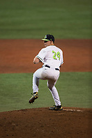 Hillsboro Hops relief pitcher Harrison Francis (24) delivers a pitch during a Northwest League game against the Salem-Keizer Volcanoes at Ron Tonkin Field on September 1, 2018 in Hillsboro, Oregon. The Salem-Keizer Volcanoes defeated the Hillsboro Hops by a score of 3-1. (Zachary Lucy/Four Seam Images)