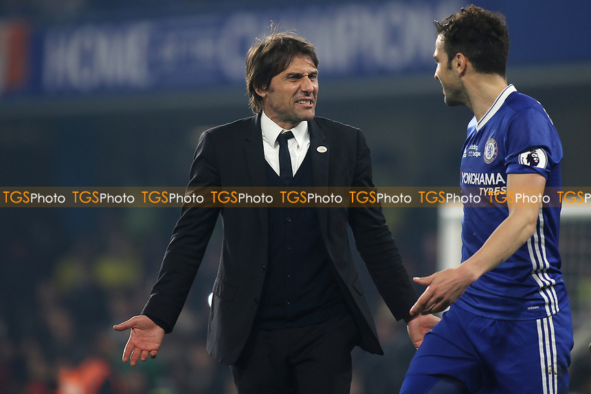 Chelsea Manager, Antonio Conte celebrates with Cesc Fabregas at the final whistle after the midfielder scored their winning goal during Chelsea vs Watford, Premier League Football at Stamford Bridge on 15th May 2017