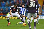 Wednesday's Alex Lopez earns a yellow card for his tackle on Bradley Johnson of Derby - Sheffield Wednesday vs Derby County - Skybet Championship - Hillsborough - Sheffield - 06/12/2015 Pic Philip Oldham/SportImage