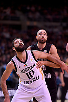 Jordan's Ahmad Obeid and New Zealand Tall Blacks' Ethan Rusbatch in action during the FIBA World Cup Basketball Qualifier - NZ Tall Blacks v Jordan at Horncastle Arena, Christchurch, New Zealand on Thursday 29 November  2018. <br /> Photo by Masanori Udagawa. <br /> www.photowellington.photoshelter.com