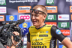 Robert Gesink (NED) Team Lotto NL-Jumbo chats to the media at the team presentation before the 104th edition of La Doyenne, Liege-Bastogne-Liege 2018, Belgium. 21st April 2018.<br /> Picture: ASO/Karen Edwards | Cyclefile<br /> <br /> <br /> All photos usage must carry mandatory copyright credit (&copy; Cyclefile | ASO/Karen Edwards)