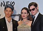 "(L-R)Japanese guitarist Miyavi, actress Angelina Jolie and Actor Sam Riley attend the Japan premiere for ""Maleficent: Mistress of Evil"" at Roppongi Hills Arena in Tokyo, Japan on October 3, 2019. (Photo by AFLO)"